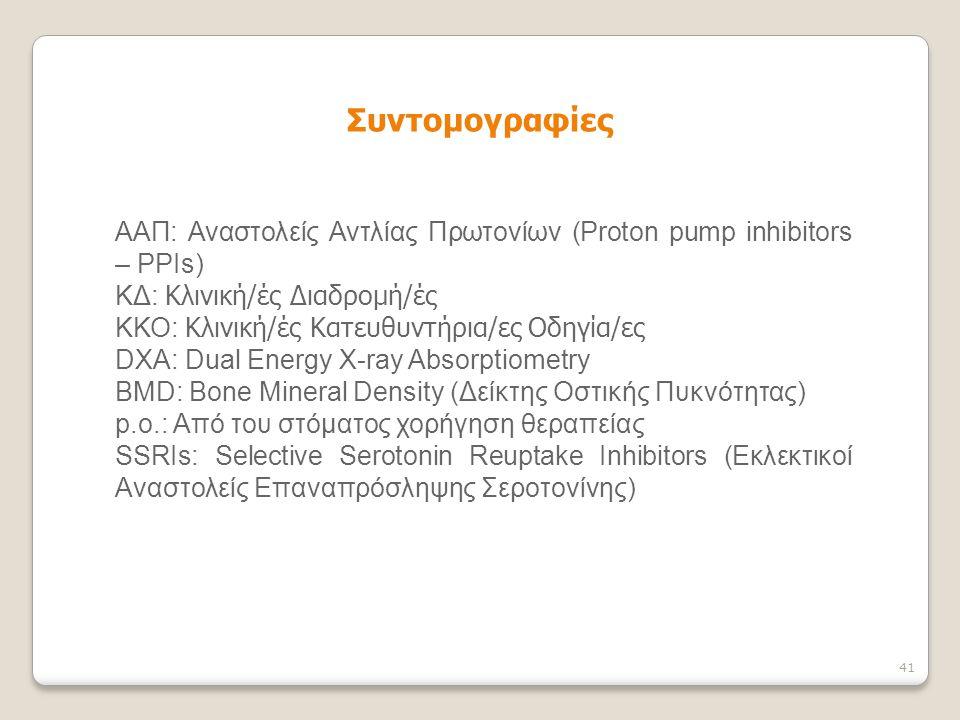 ΑΑΠ: Αναστολείς Αντλίας Πρωτονίων (Proton pump inhibitors – PPIs) ΚΔ: Κλινική/ές Διαδρομή/ές ΚΚΟ: Κλινική/ές Κατευθυντήρια/ες Οδηγία/ες DXA: Dual Ener