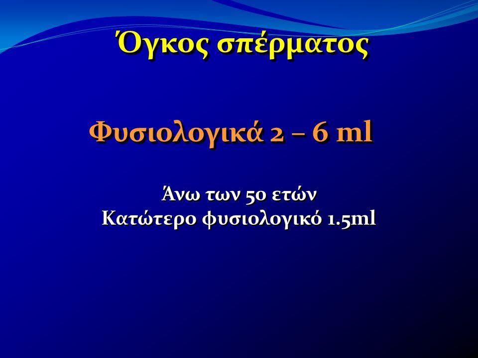Όγκος σπέρματος Άνω των 50 ετών Κατώτερο φυσιολογικό 1.5ml Άνω των 50 ετών Κατώτερο φυσιολογικό 1.5ml Φυσιολογικά 2 – 6 ml Φυσιολογικά 2 – 6 ml