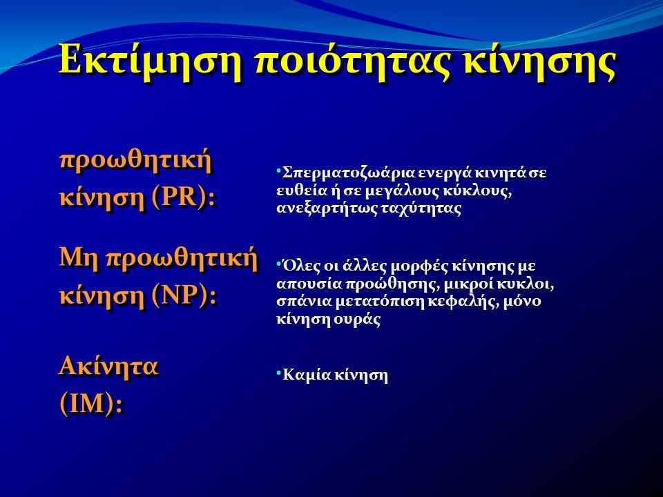 Εκτίμηση ποιότητας κίνησης προωθητική κίνηση (PR): Μη προωθητική κίνηση (NP): Ακίνητα (ΙΜ): • Σπερματοζωάρια ενεργά κινητά σε ευθεία ή σε μεγάλους κύκ