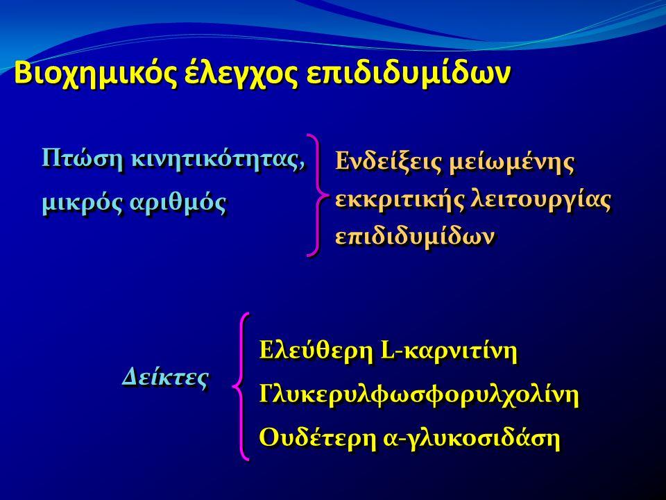 Βιοχημικός έλεγχος επιδιδυμίδων Ελεύθερη L-καρνιτίνη Γλυκερυλφωσφορυλχολίνη Ουδέτερη α-γλυκοσιδάση Ελεύθερη L-καρνιτίνη Γλυκερυλφωσφορυλχολίνη Ουδέτερ