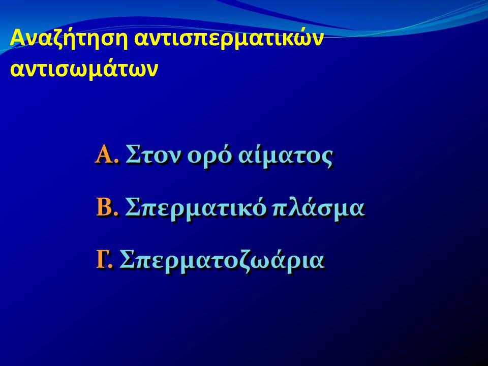Αναζήτηση αντισπερματικών αντισωμάτων Α. Στον ορό αίματος Β. Σπερματικό πλάσμα Γ. Σπερματοζωάρια Α. Στον ορό αίματος Β. Σπερματικό πλάσμα Γ. Σπερματοζ