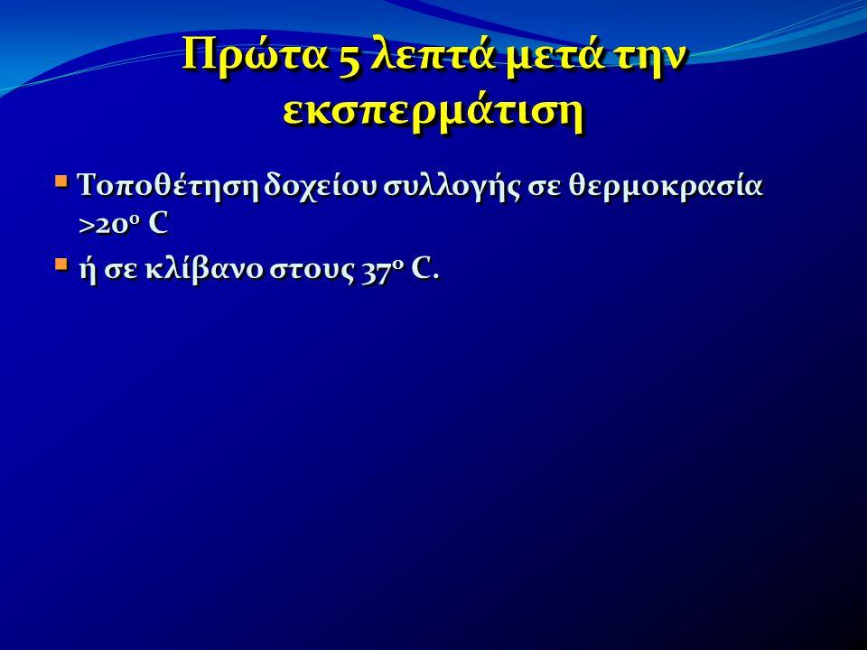 Πρώτα 5 λεπτά μετά την εκσπερμάτιση  Τοποθέτηση δοχείου συλλογής σε θερμοκρασία >20 0 C  ή σε κλίβανο στους 37 ο C.  Τοποθέτηση δοχείου συλλογής σε