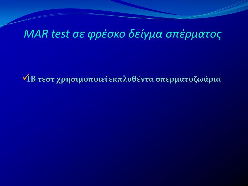 MAR test σε φρέσκο δείγμα σπέρματος  ΙΒ τεστ χρησιμοποιεί εκπλυθέντα σπερματοζωάρια