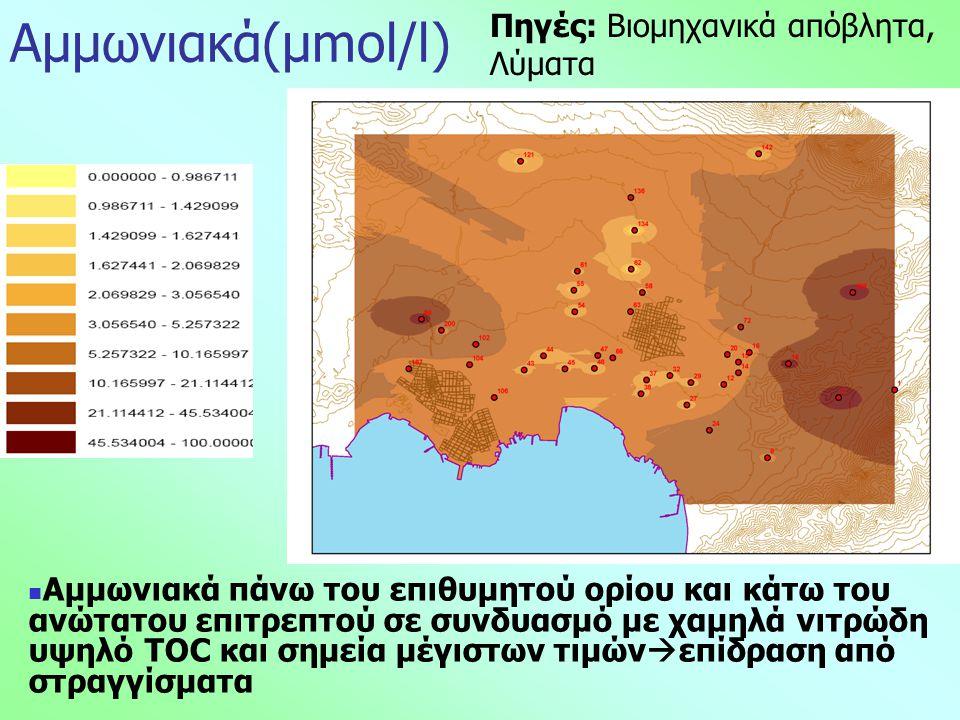 Αμμωνιακά(μmol/l)  Αμμωνιακά πάνω του επιθυμητού ορίου και κάτω του ανώτατου επιτρεπτού σε συνδυασμό με χαμηλά νιτρώδη υψηλό TOC και σημεία μέγιστων