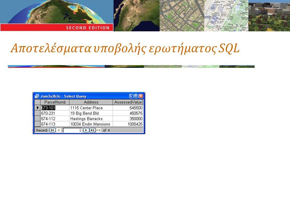 Αποτελέσματα υποβολής ερωτήματος SQL