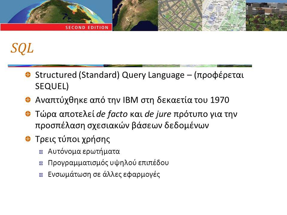 SQL Structured (Standard) Query Language – (προφέρεται SEQUEL) Αναπτύχθηκε από την IBM στη δεκαετία του 1970 Τώρα αποτελεί de facto και de jure πρότυπο για την προσπέλαση σχεσιακών βάσεων δεδομένων Τρεις τύποι χρήσης Αυτόνομα ερωτήματα Προγραμματισμός υψηλού επιπέδου Ενσωμάτωση σε άλλες εφαρμογές