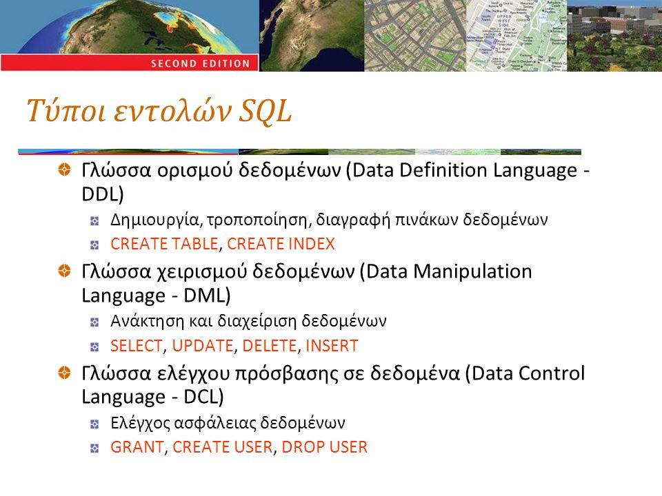 Τύποι εντολών SQL Γλώσσα ορισμού δεδομένων (Data Definition Language - DDL) Δημιουργία, τροποποίηση, διαγραφή πινάκων δεδομένων CREATE TABLE, CREATE INDEX Γλώσσα χειρισμού δεδομένων (Data Manipulation Language - DML) Ανάκτηση και διαχείριση δεδομένων SELECT, UPDATE, DELETE, INSERT Γλώσσα ελέγχου πρόσβασης σε δεδομένα (Data Control Language - DCL) Ελέγχος ασφάλειας δεδομένων GRANT, CREATE USER, DROP USER