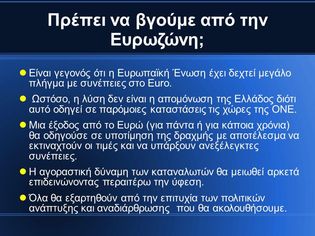 Πρέπει να βγούμε από την Ευρωζώνη;  Είναι γεγονός ότι η Ευρωπαϊκή Ένωση έχει δεχτεί μεγάλο πλήγμα με συνέπειες στο Euro.
