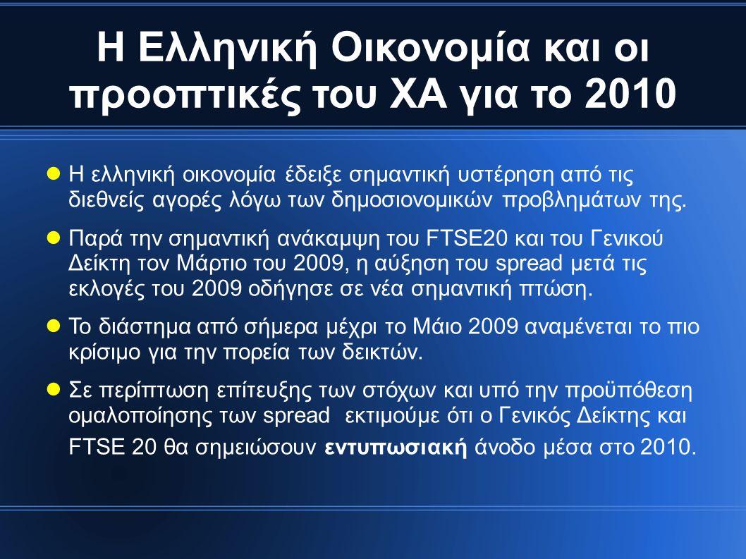 Η Ελληνική Οικονομία και οι προοπτικές του ΧΑ για το 2010  Η ελληνική οικονομία έδειξε σημαντική υστέρηση από τις διεθνείς αγορές λόγω των δημοσιονομικών προβλημάτων της.
