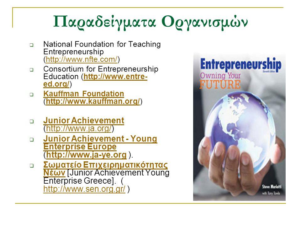 Παραδείγματα Οργανισμών  National Foundation for Teaching Entrepreneurship (http://www.nfte.com/)http://www.nfte.com/  Consortium for Entrepreneursh