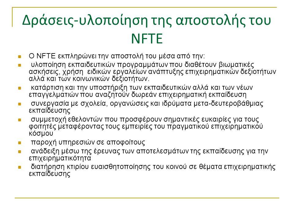 Δράσεις-υλοποίηση της αποστολής του NFTE  Ο NFTE εκπληρώνει την αποστολή του μέσα από την:  υλοποίηση εκπαιδευτικών προγραμμάτων που διαθέτουν βιωμα