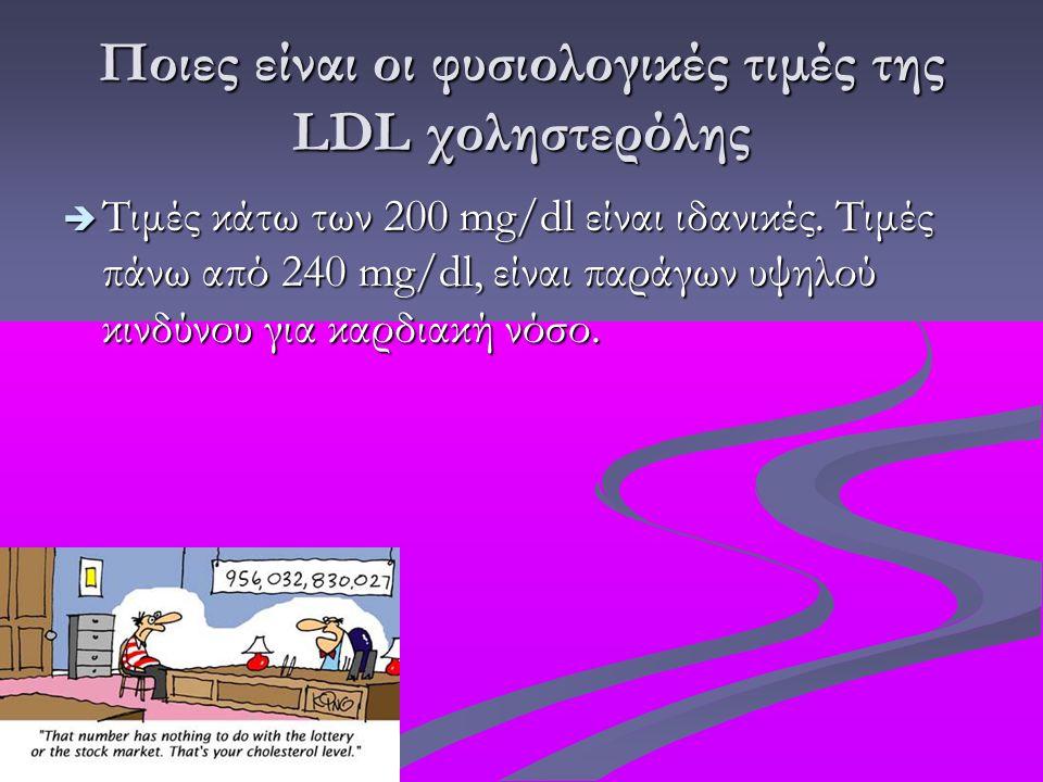 Ποιες είναι οι φυσιολογικές τιμές της LDL χοληστερόλης  Τιμές κάτω των 200 mg/dl είναι ιδανικές. Τιμές πάνω από 240 mg/dl, είναι παράγων υψηλού κινδύ