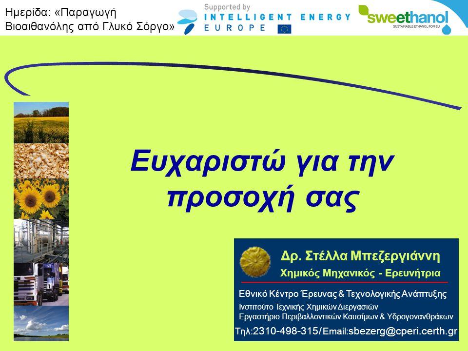 EKETA Ευχαριστώ για την προσοχή σας Εθνικό Κέντρο Έρευνας & Τεχνολογικής Ανάπτυξης Ινστιτούτο Τεχνικής Χημικών Διεργασιών Εργαστήριο Περιβαλλοντικών Κ