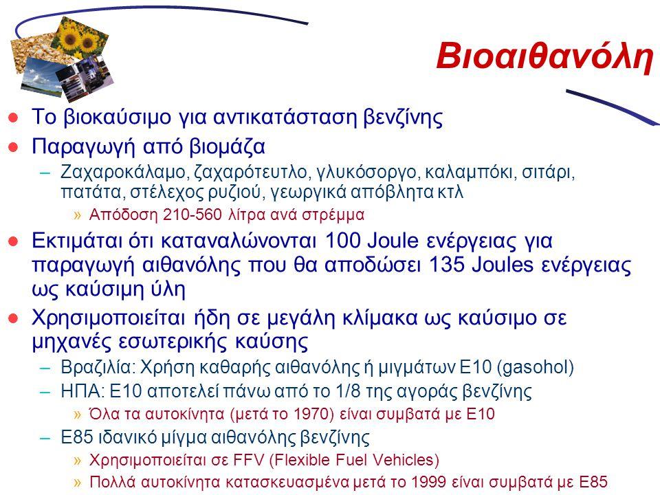 Βιοαιθανόλη  Το βιοκαύσιμο για αντικατάσταση βενζίνης  Παραγωγή από βιομάζα –Ζαχαροκάλαμο, ζαχαρότευτλο, γλυκόσοργο, καλαμπόκι, σιτάρι, πατάτα, στέλ