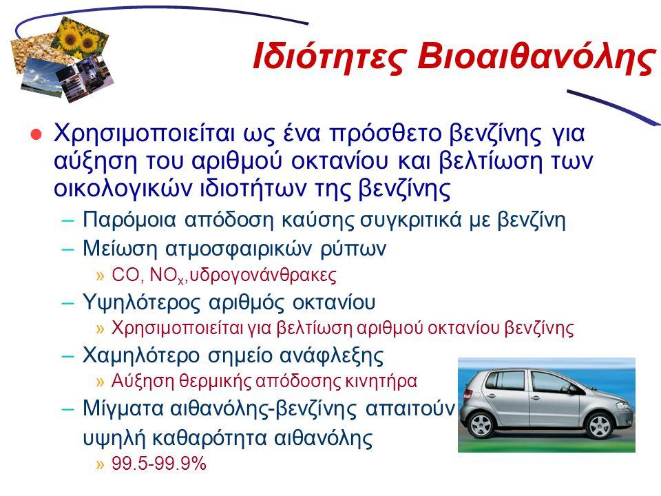 Ιδιότητες Βιοαιθανόλης  Χρησιμοποιείται ως ένα πρόσθετο βενζίνης για αύξηση του αριθμού οκτανίου και βελτίωση των οικολογικών ιδιοτήτων της βενζίνης