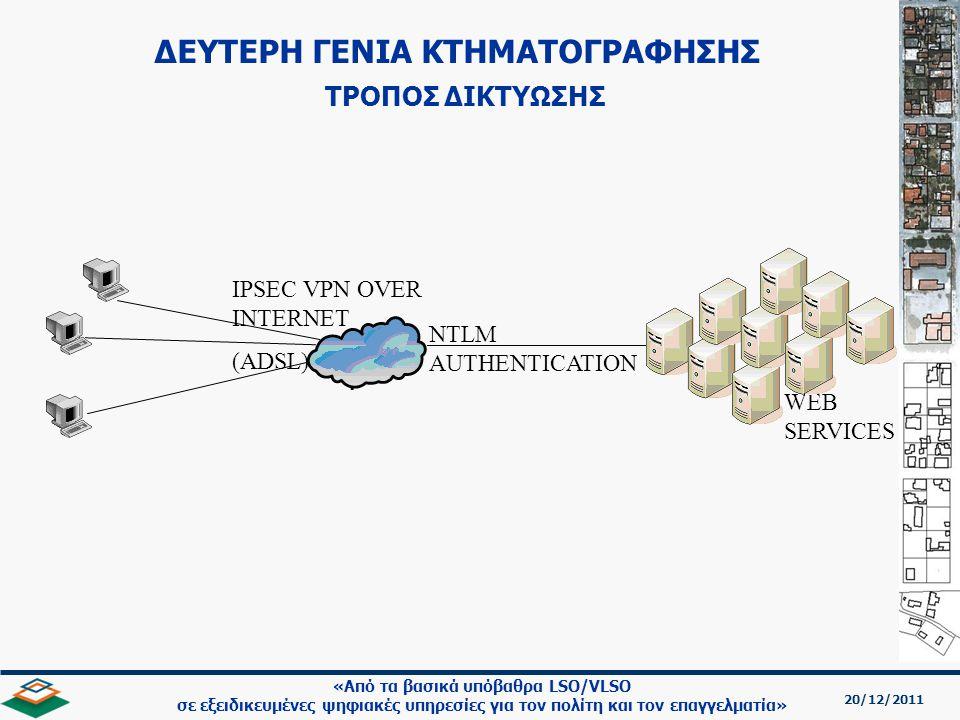 20/12/2011 «Από τα βασικά υπόβαθρα LSO/VLSO σε εξειδικευμένες ψηφιακές υπηρεσίες για τον πολίτη και τον επαγγελματία» WEB SERVICES NTLM AUTHENTICATION IPSEC VPN OVER INTERNET (ADSL) ΔΕΥΤΕΡΗ ΓΕΝΙΑ ΚΤΗΜΑΤΟΓΡΑΦΗΣΗΣ ΤΡΟΠΟΣ ΔΙΚΤΥΩΣΗΣ