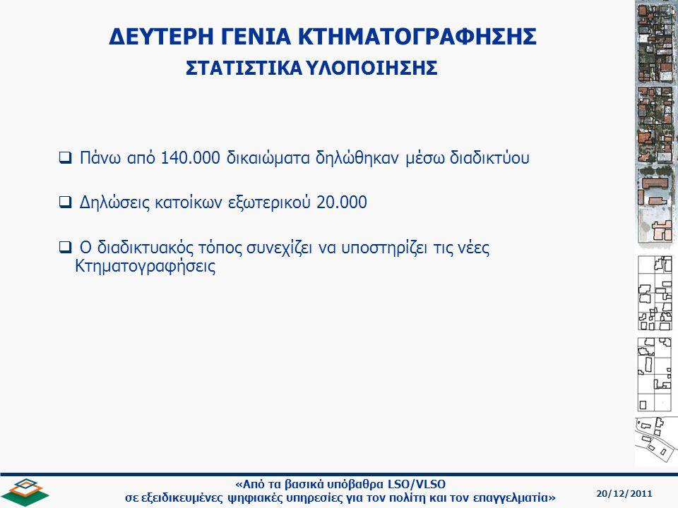 20/12/2011 «Από τα βασικά υπόβαθρα LSO/VLSO σε εξειδικευμένες ψηφιακές υπηρεσίες για τον πολίτη και τον επαγγελματία»   Πάνω από 140.000 δικαιώματα δηλώθηκαν μέσω διαδικτύου   Δηλώσεις κατοίκων εξωτερικού 20.000   Ο διαδικτυακός τόπος συνεχίζει να υποστηρίζει τις νέες Κτηματογραφήσεις ΔΕΥΤΕΡΗ ΓΕΝΙΑ ΚΤΗΜΑΤΟΓΡΑΦΗΣΗΣ ΣΤΑΤΙΣΤΙΚΑ ΥΛΟΠΟΙΗΣΗΣ