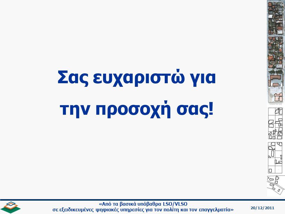 20/12/2011 «Από τα βασικά υπόβαθρα LSO/VLSO σε εξειδικευμένες ψηφιακές υπηρεσίες για τον πολίτη και τον επαγγελματία» Σας ευχαριστώ για την προσοχή σας!