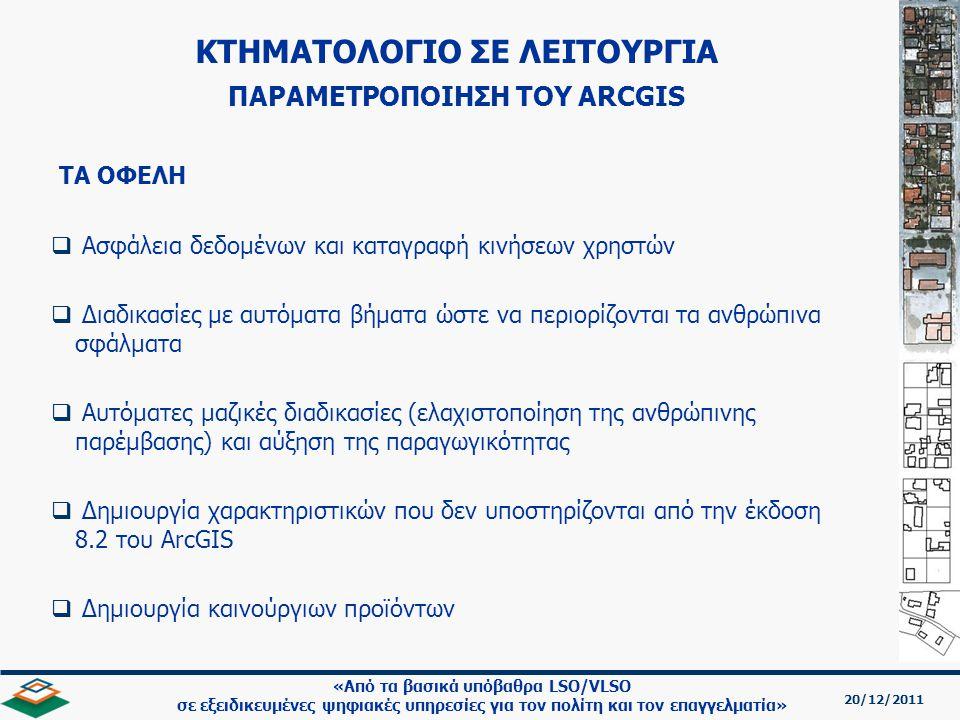 20/12/2011 «Από τα βασικά υπόβαθρα LSO/VLSO σε εξειδικευμένες ψηφιακές υπηρεσίες για τον πολίτη και τον επαγγελματία»   Ασφάλεια δεδομένων και καταγραφή κινήσεων χρηστών   Διαδικασίες με αυτόματα βήματα ώστε να περιορίζονται τα ανθρώπινα σφάλματα   Αυτόματες μαζικές διαδικασίες (ελαχιστοποίηση της ανθρώπινης παρέμβασης) και αύξηση της παραγωγικότητας   Δημιουργία χαρακτηριστικών που δεν υποστηρίζονται από την έκδοση 8.2 του ArcGIS   Δημιουργία καινούργιων προϊόντων ΤΑ ΟΦΕΛΗ ΚΤΗΜΑΤΟΛΟΓΙΟ ΣΕ ΛΕΙΤΟΥΡΓΙΑ ΠΑΡΑΜΕΤΡΟΠΟΙΗΣΗ TOY ARCGIS