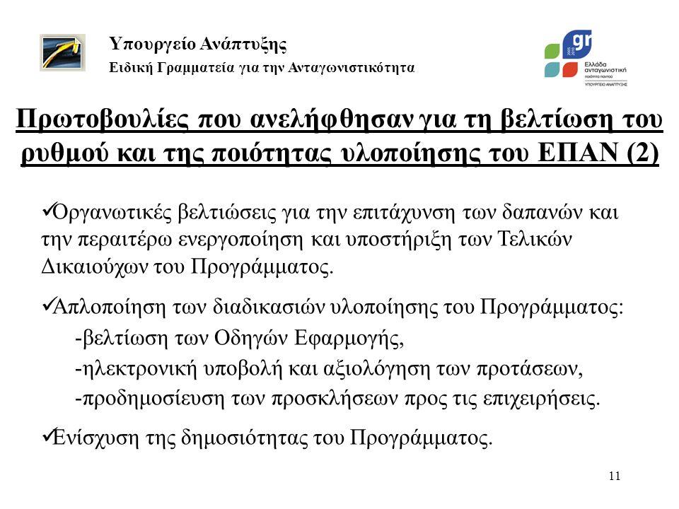 11 Υπουργείο Ανάπτυξης Ειδική Γραμματεία για την Ανταγωνιστικότητα  Οργανωτικές βελτιώσεις για την επιτάχυνση των δαπανών και την περαιτέρω ενεργοποί
