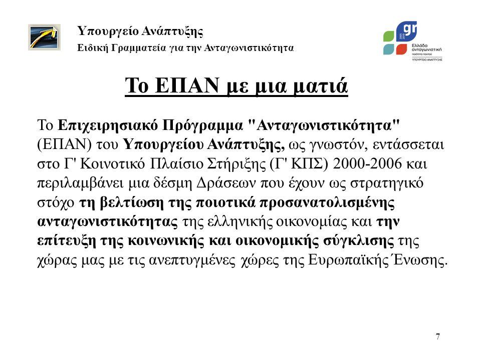 7 Το ΕΠΑΝ με μια ματιά Υπουργείο Ανάπτυξης Ειδική Γραμματεία για την Ανταγωνιστικότητα Το Επιχειρησιακό Πρόγραμμα Ανταγωνιστικότητα (ΕΠΑΝ) του Υπουργείου Ανάπτυξης, ως γνωστόν, εντάσσεται στο Γ Κοινοτικό Πλαίσιο Στήριξης (Γ ΚΠΣ) 2000-2006 και περιλαμβάνει μια δέσμη Δράσεων που έχουν ως στρατηγικό στόχο τη βελτίωση της ποιοτικά προσανατολισμένης ανταγωνιστικότητας της ελληνικής οικονομίας και την επίτευξη της κοινωνικής και οικονομικής σύγκλισης της χώρας μας με τις ανεπτυγμένες χώρες της Ευρωπαϊκής Ένωσης.