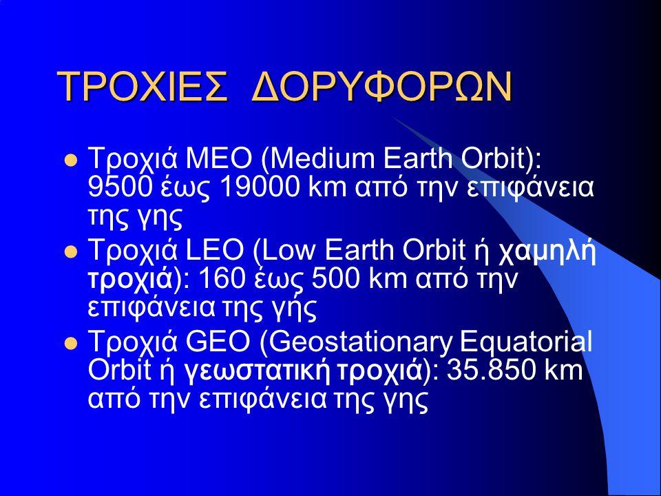 ΤΡΟΧΙΕΣ ΔΟΡΥΦΟΡΩΝ  Τροχιά ΜΕΟ (Medium Earth Orbit): 9500 έως 19000 km από την επιφάνεια της γης  Τροχιά LEO (Low Earth Orbit ή χαμηλή τροχιά): 160 έ
