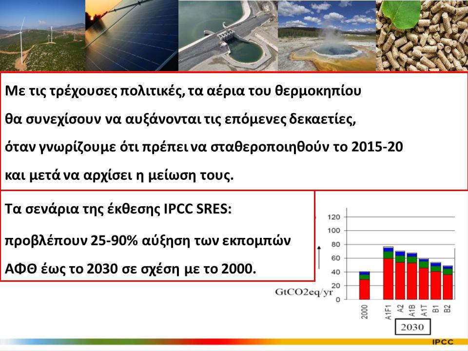 Τα σενάρια της έκθεσης IPCC SRES: προβλέπουν 25-90% αύξηση των εκπομπών ΑΦΘ έως το 2030 σε σχέση με το 2000.