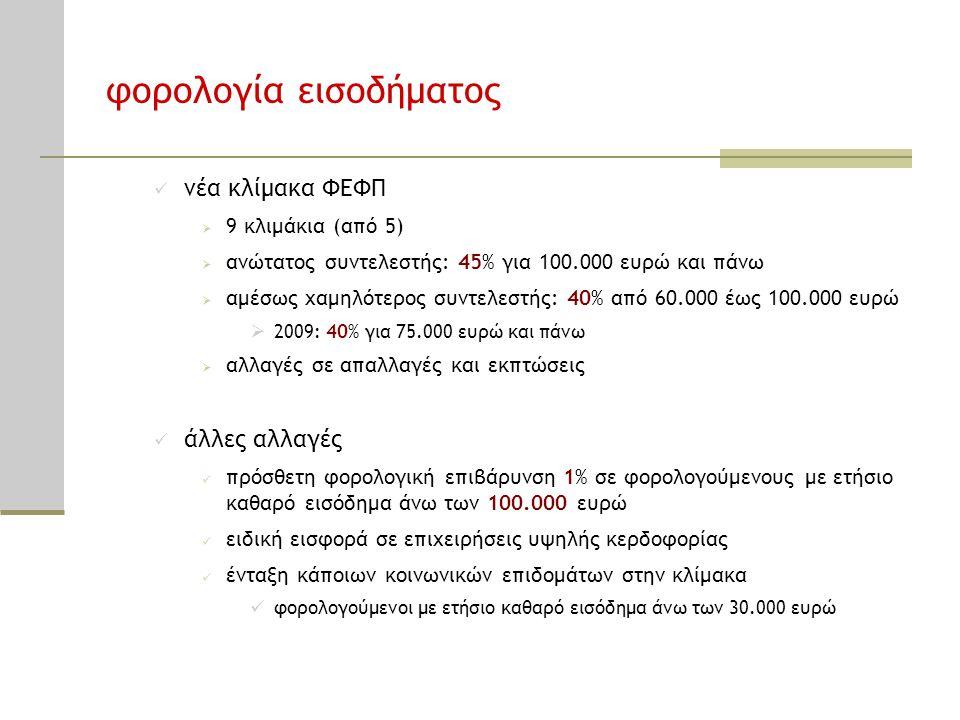 φορολογία εισοδήματος  νέα κλίμακα ΦΕΦΠ  9 κλιμάκια (από 5)  ανώτατος συντελεστής: 45% για 100.000 ευρώ και πάνω  αμέσως χαμηλότερος συντελεστής: