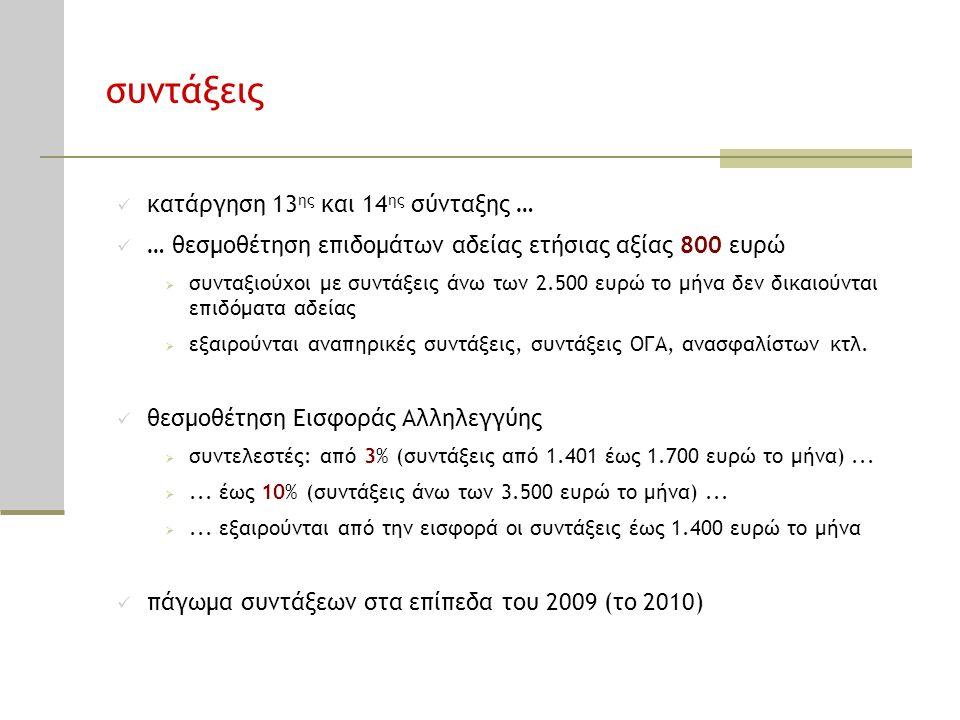 συντάξεις  κατάργηση 13 ης και 14 ης σύνταξης …  … θεσμοθέτηση επιδομάτων αδείας ετήσιας αξίας 800 ευρώ  συνταξιούχοι με συντάξεις άνω των 2.500 ευ