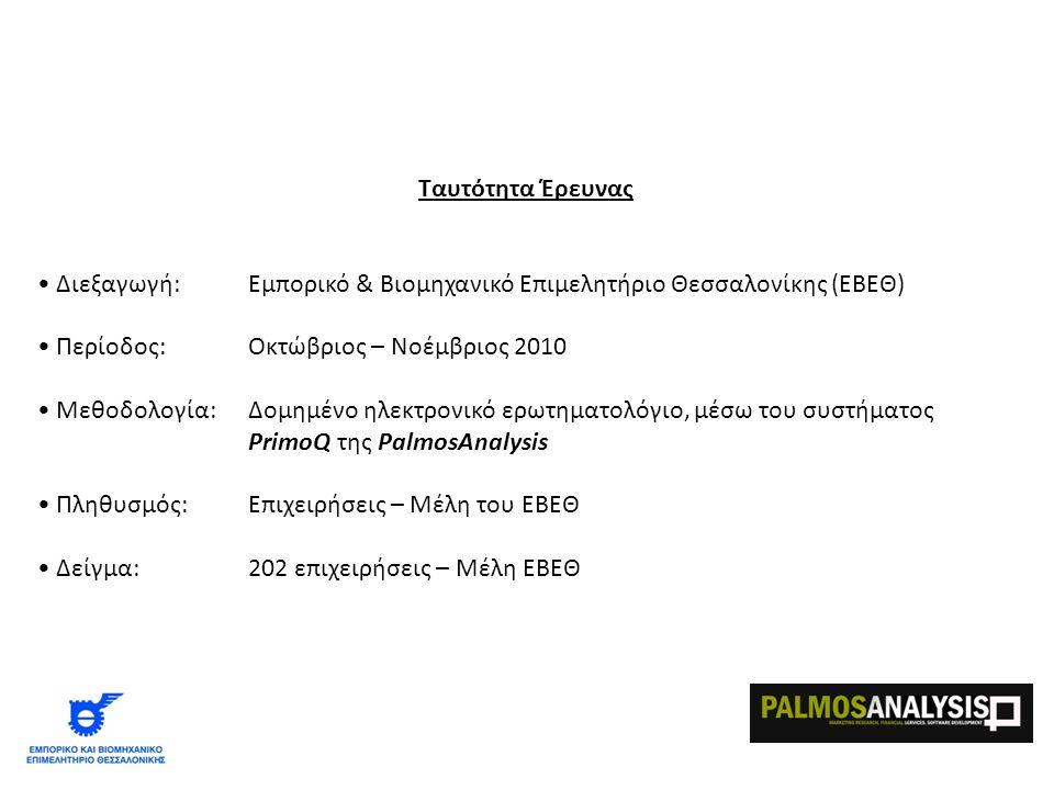 Ταυτότητα Έρευνας • Διεξαγωγή: Εμπορικό & Βιομηχανικό Επιμελητήριο Θεσσαλονίκης (ΕΒΕΘ) • Περίοδος:Οκτώβριος – Νοέμβριος 2010 • Μεθοδολογία: Δομημένο ηλεκτρονικό ερωτηματολόγιο, μέσω του συστήματος PrimoQ της PalmosAnalysis • Πληθυσμός:Επιχειρήσεις – Μέλη του ΕΒΕΘ • Δείγμα:202 επιχειρήσεις – Μέλη ΕΒΕΘ