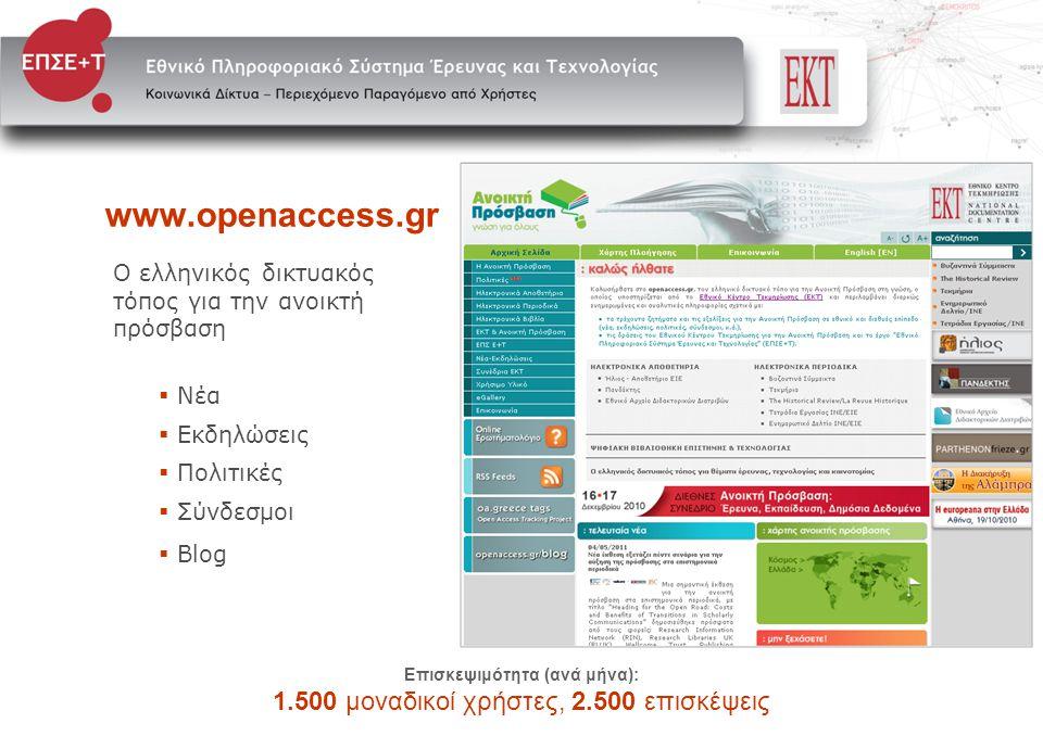 www.openaccess.gr Ο ελληνικός δικτυακός τόπος για την ανοικτή πρόσβαση  Νέα  Εκδηλώσεις  Πολιτικές  Σύνδεσμοι  Blog Επισκεψιμότητα (ανά μήνα): 1.