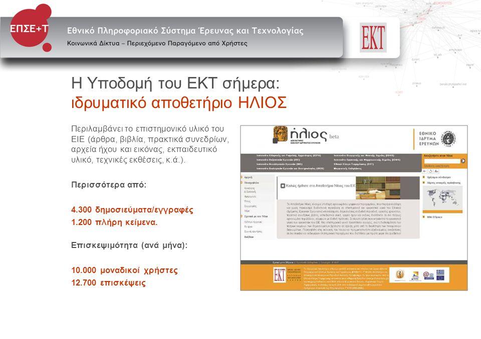 Υπηρεσίες που θα προσφερθούν • Ηλεκτρονικής ψηφιακής βιβλιοθήκης • Κοινωνικής δικτύωσης και περιεχομένου • Ανάπτυξης ηλεκτρονικών εργαλείων έρευνας • Θεματικών αποθετηρίων • Ηλεκτρονικών εκδόσεων • Υπηρεσίες καταγραφής, αξιολόγησης και οργάνωσης της ερευνητικής δραστηριότητας • Οριζόντιες ηλεκτρονικές υπηρεσίες (helpdesk, παραγωγή οπτικοακουστικού υλικού)