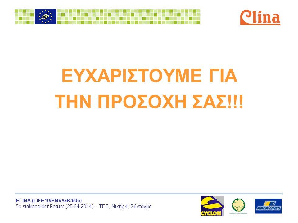 ELINA (LIFE10/ENV/GR/606) 5ο stakeholder Forum (25.04.2014) – ΤΕΕ, Νίκης 4, Σύνταγμα ΕΥΧΑΡΙΣΤΟΥΜΕ ΓΙΑ ΤΗΝ ΠΡΟΣΟΧΗ ΣΑΣ!!!