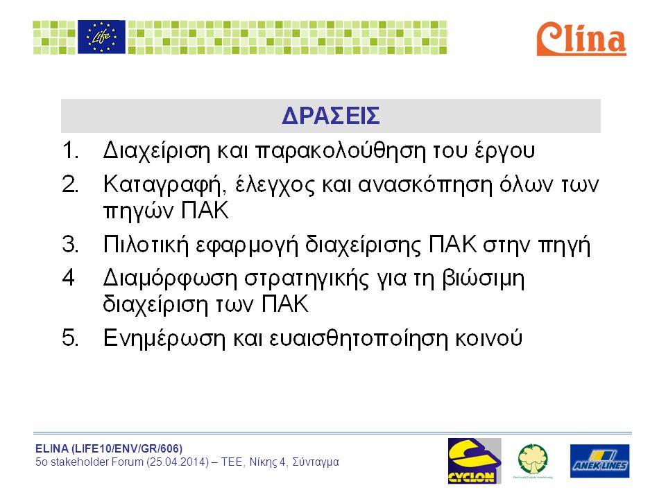 ELINA (LIFE10/ENV/GR/606) 5ο stakeholder Forum (25.04.2014) – ΤΕΕ, Νίκης 4, Σύνταγμα