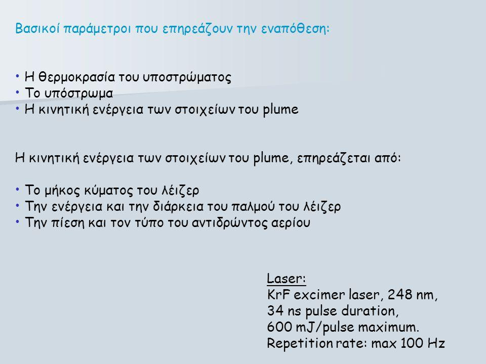 Βασικοί παράμετροι που επηρεάζουν την εναπόθεση: • Η θερμοκρασία του υποστρώματος • Το υπόστρωμα • Η κινητική ενέργεια των στοιχείων του plume Η κινητ