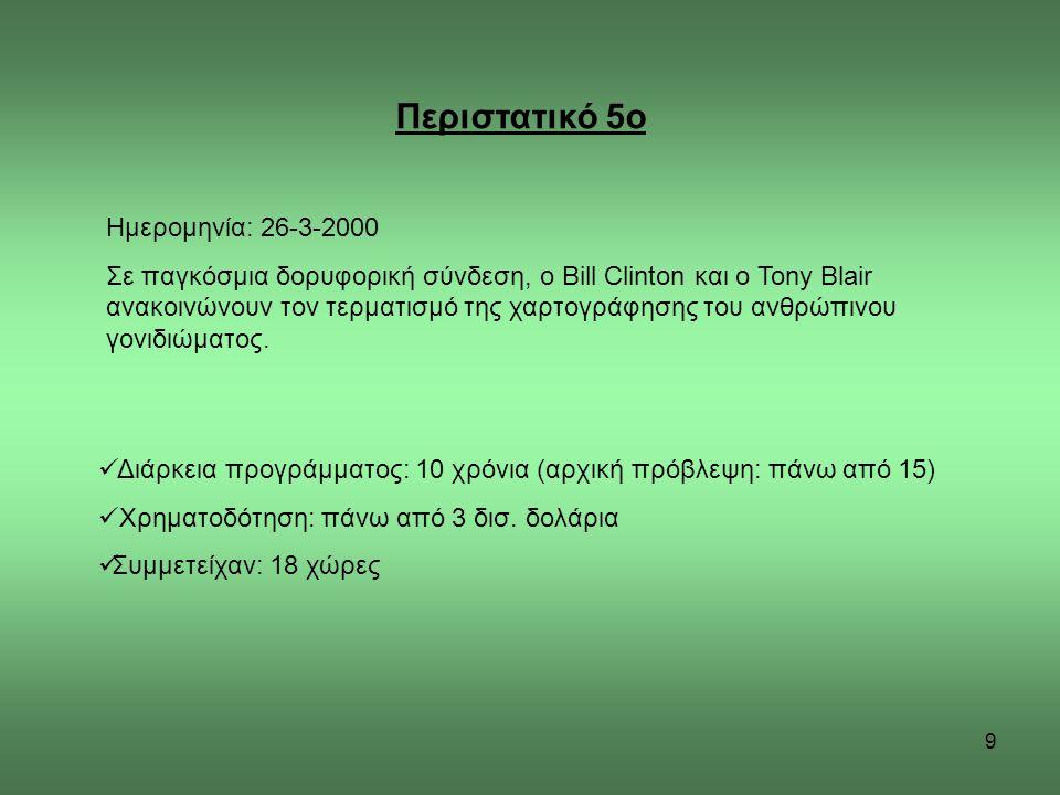 9 Περιστατικό 5ο Ημερομηνία: 26-3-2000 Σε παγκόσμια δορυφορική σύνδεση, ο Bill Clinton και ο Tony Blair ανακοινώνουν τον τερματισμό της χαρτογράφησης