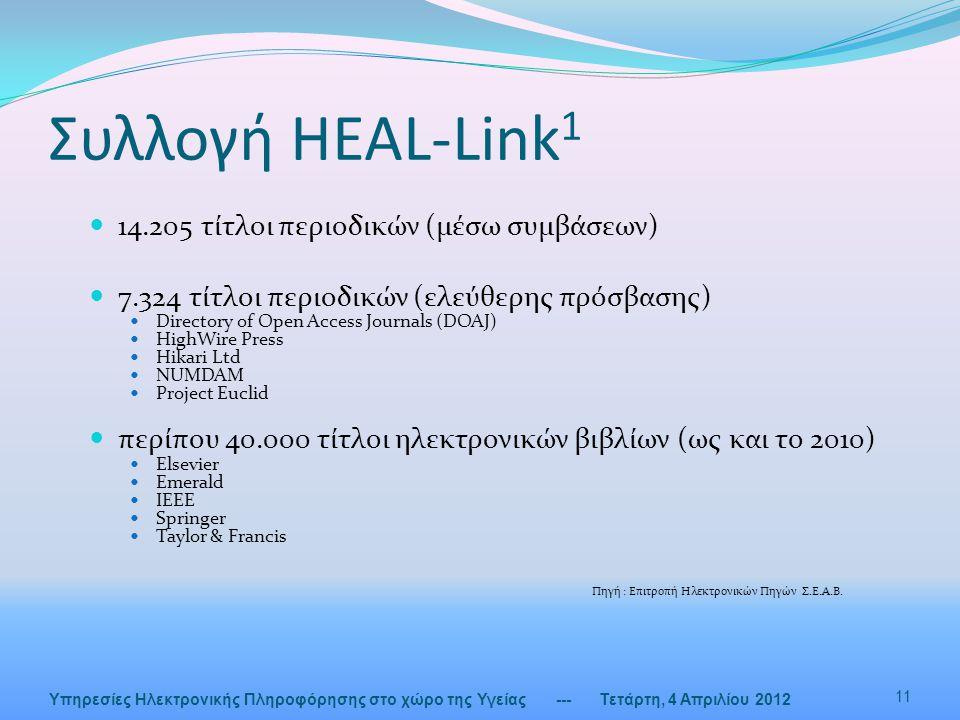 Συλλογή HEAL-Link 1  14.205 τίτλοι περιοδικών (μέσω συμβάσεων)  7.324 τίτλοι περιοδικών (ελεύθερης πρόσβασης)  Directory of Open Access Journals (D