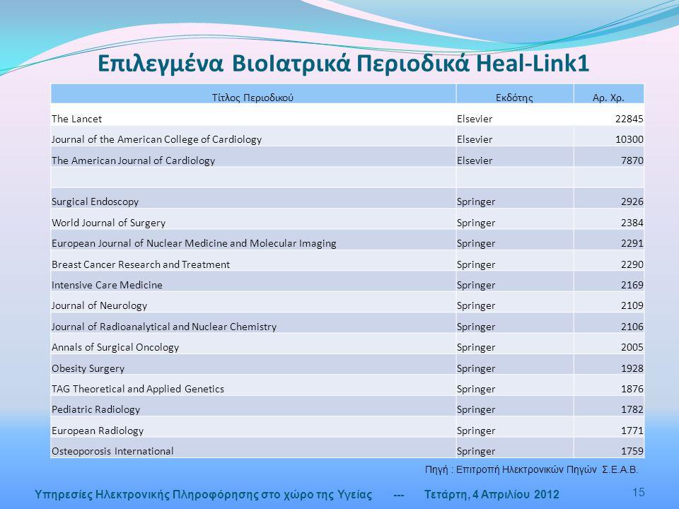 Επιλεγμένα ΒιοΙατρικά Περιοδικά Heal-Link1 --- Τετάρτη, 4 Απριλίου 2012 15 Υπηρεσίες Ηλεκτρονικής Πληροφόρησης στο χώρο της Υγείας Τίτλος ΠεριοδικούΕκδότηςΑρ.