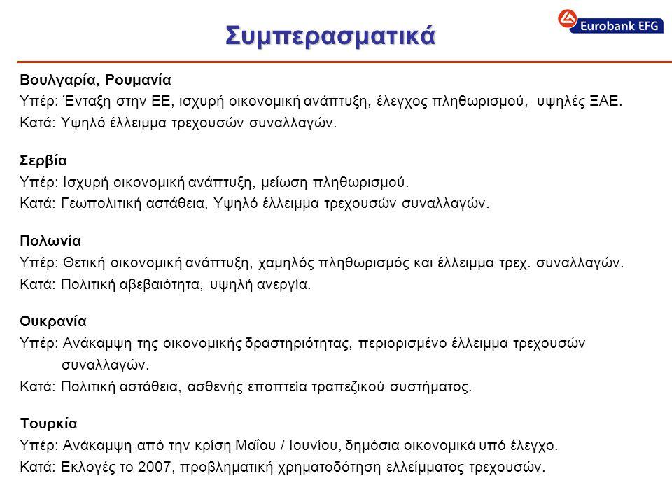 Συμπερασματικά Βουλγαρία, Ρουμανία Υπέρ: Ένταξη στην ΕΕ, ισχυρή οικονομική ανάπτυξη, έλεγχος πληθωρισμού, υψηλές ΞΑΕ.