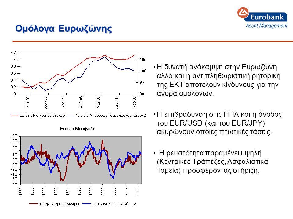 Ομόλογα Ευρωζώνης •Η δυνατή ανάκαμψη στην Ευρωζώνη αλλά και η αντιπληθωριστική ρητορική της ΕΚΤ αποτελούν κίνδυνους για την αγορά ομολόγων.