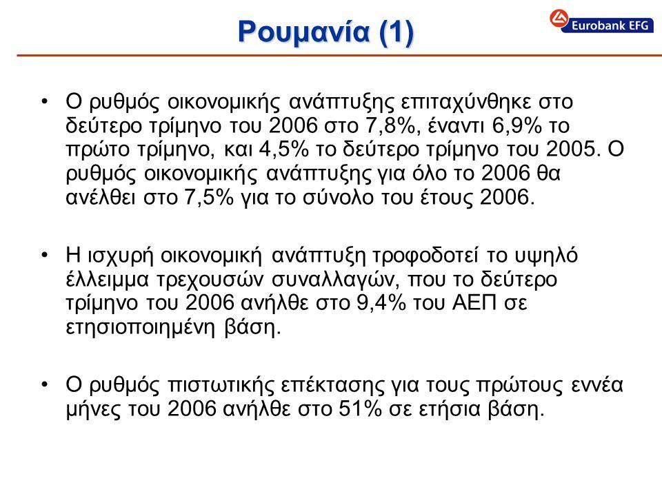 Ρουμανία (1) •Ο ρυθμός οικονομικής ανάπτυξης επιταχύνθηκε στο δεύτερο τρίμηνο του 2006 στο 7,8%, έναντι 6,9% το πρώτο τρίμηνο, και 4,5% το δεύτερο τρίμηνο του 2005.