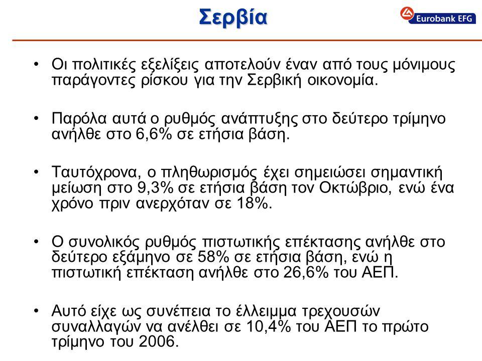 Σερβία •Οι πολιτικές εξελίξεις αποτελούν έναν από τους μόνιμους παράγοντες ρίσκου για την Σερβική οικονομία.