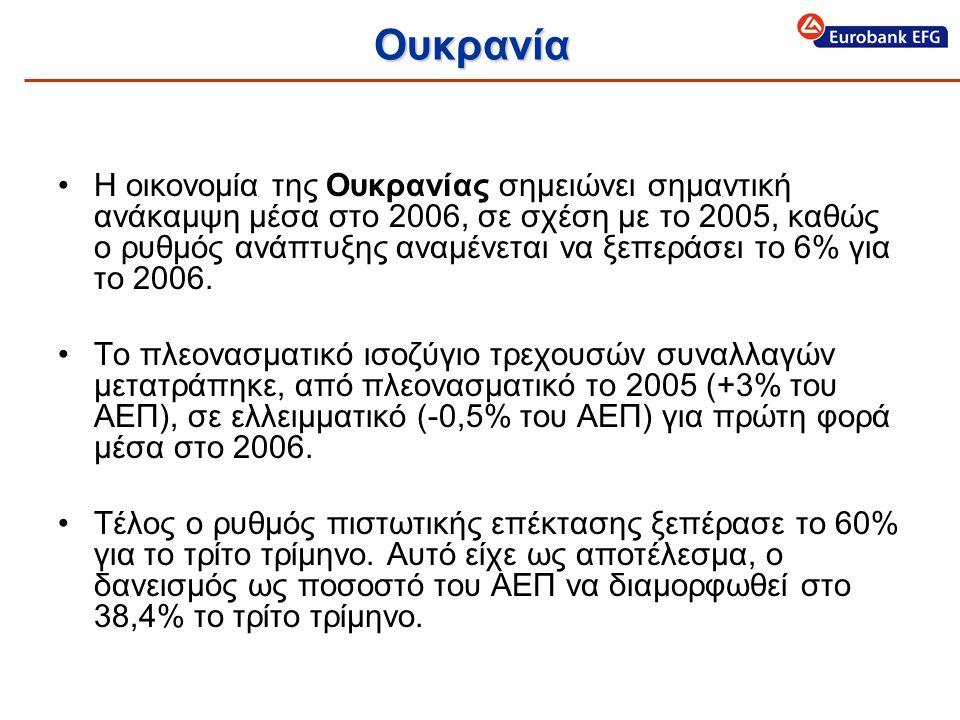 Ουκρανία •Η οικονομία της Ουκρανίας σημειώνει σημαντική ανάκαμψη μέσα στο 2006, σε σχέση με το 2005, καθώς ο ρυθμός ανάπτυξης αναμένεται να ξεπεράσει το 6% για το 2006.