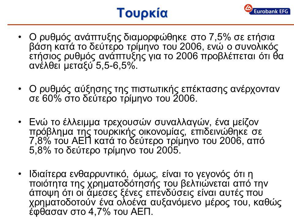 Τουρκία •Ο ρυθμός ανάπτυξης διαμορφώθηκε στο 7,5% σε ετήσια βάση κατά το δεύτερο τρίμηνο του 2006, ενώ ο συνολικός ετήσιος ρυθμός ανάπτυξης για το 2006 προβλέπεται ότι θα ανέλθει μεταξύ 5,5-6,5%.