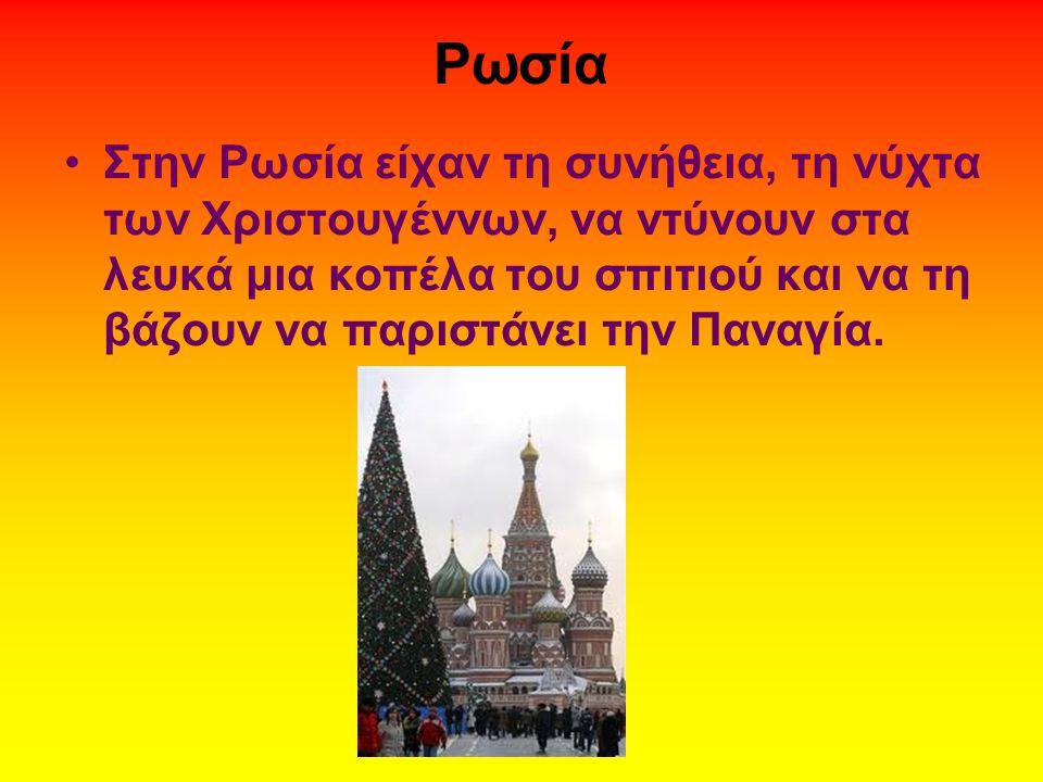 Ρωσία •Στην Ρωσία είχαν τη συνήθεια, τη νύχτα των Χριστουγέννων, να ντύνουν στα λευκά μια κοπέλα του σπιτιού και να τη βάζουν να παριστάνει την Παναγί
