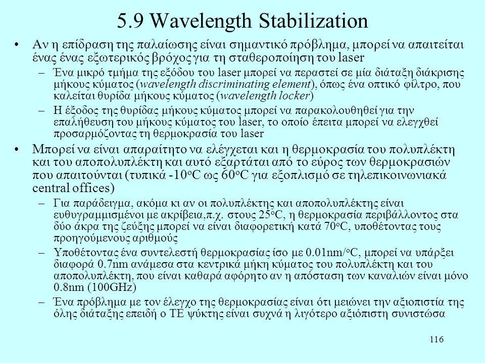 116 5.9 Wavelength Stabilization •Αν η επίδραση της παλαίωσης είναι σημαντικό πρόβλημα, μπορεί να απαιτείται ένας ένας εξωτερικός βρόχος για τη σταθερ