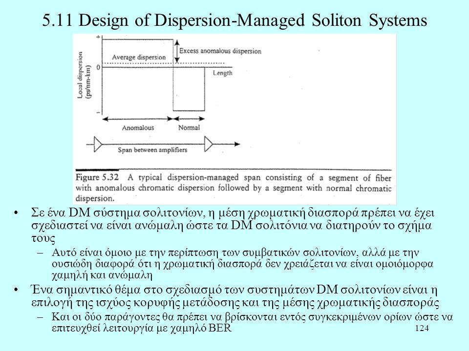 124 5.11 Design of Dispersion-Managed Soliton Systems •Σε ένα DM σύστημα σολιτονίων, η μέση χρωματική διασπορά πρέπει να έχει σχεδιαστεί να είναι ανώμαλη ώστε τα DM σολιτόνια να διατηρούν το σχήμα τους –Αυτό είναι όμοιο με την περίπτωση των συμβατικών σολιτονίων, αλλά με την ουσιώδη διαφορά ότι η χρωματική διασπορά δεν χρειάζεται να είναι ομοιόμορφα χαμηλή και ανώμαλη •Ένα σημαντικό θέμα στο σχεδιασμό των συστημάτων DM σολιτονίων είναι η επιλογή της ισχύος κορυφής μετάδοσης και της μέσης χρωματικής διασποράς –Και οι δύο παράγοντες θα πρέπει να βρίσκονται εντός συγκεκριμένων ορίων ώστε να επιτευχθεί λειτουργία με χαμηλό BER
