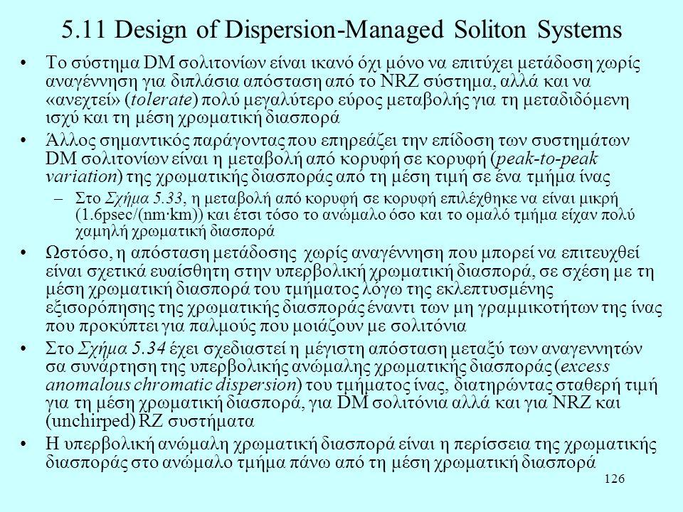 126 5.11 Design of Dispersion-Managed Soliton Systems •Το σύστημα DM σολιτονίων είναι ικανό όχι μόνο να επιτύχει μετάδοση χωρίς αναγέννηση για διπλάσι