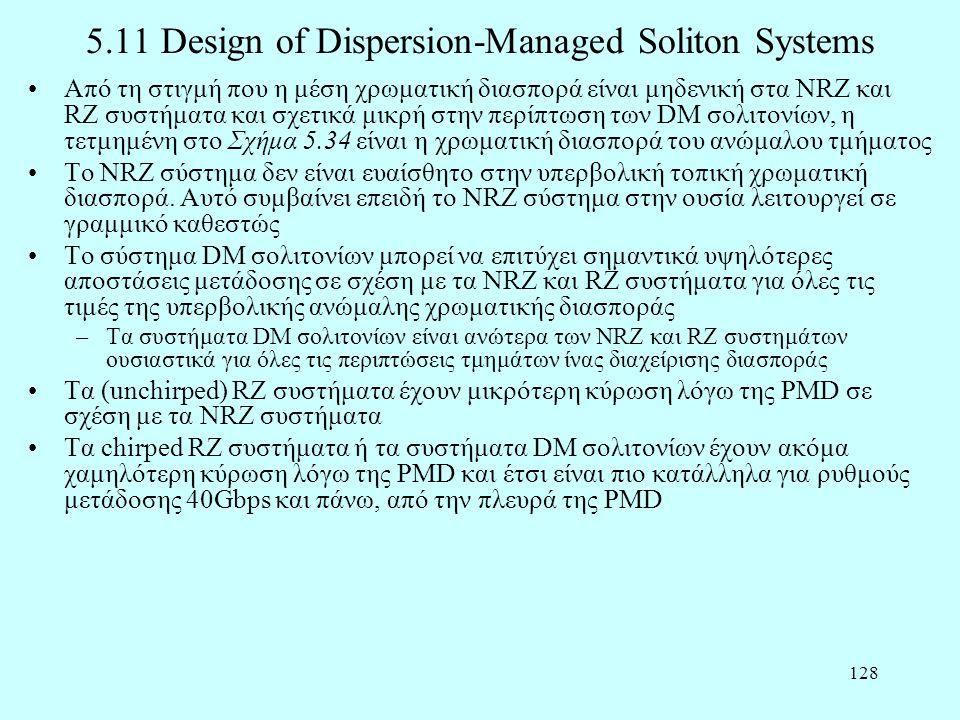 128 5.11 Design of Dispersion-Managed Soliton Systems •Από τη στιγμή που η μέση χρωματική διασπορά είναι μηδενική στα NRZ και RZ συστήματα και σχετικά μικρή στην περίπτωση των DM σολιτονίων, η τετμημένη στο Σχήμα 5.34 είναι η χρωματική διασπορά του ανώμαλου τμήματος •Το NRZ σύστημα δεν είναι ευαίσθητο στην υπερβολική τοπική χρωματική διασπορά.