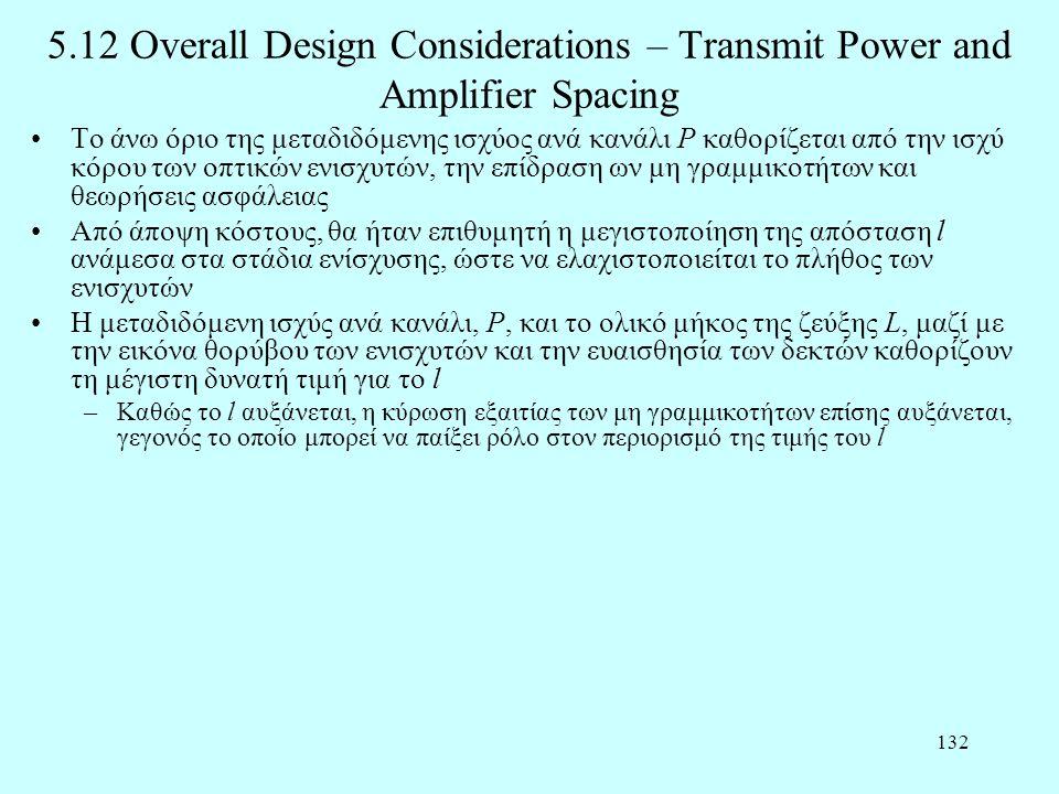 132 5.12 Overall Design Considerations – Transmit Power and Amplifier Spacing •Το άνω όριο της μεταδιδόμενης ισχύος ανά κανάλι P καθορίζεται από την ισχύ κόρου των οπτικών ενισχυτών, την επίδραση ων μη γραμμικοτήτων και θεωρήσεις ασφάλειας •Από άποψη κόστους, θα ήταν επιθυμητή η μεγιστοποίηση της απόσταση l ανάμεσα στα στάδια ενίσχυσης, ώστε να ελαχιστοποιείται το πλήθος των ενισχυτών •Η μεταδιδόμενη ισχύς ανά κανάλι, P, και το ολικό μήκος της ζεύξης L, μαζί με την εικόνα θορύβου των ενισχυτών και την ευαισθησία των δεκτών καθορίζουν τη μέγιστη δυνατή τιμή για το l –Καθώς το l αυξάνεται, η κύρωση εξαιτίας των μη γραμμικοτήτων επίσης αυξάνεται, γεγονός το οποίο μπορεί να παίξει ρόλο στον περιορισμό της τιμής του l
